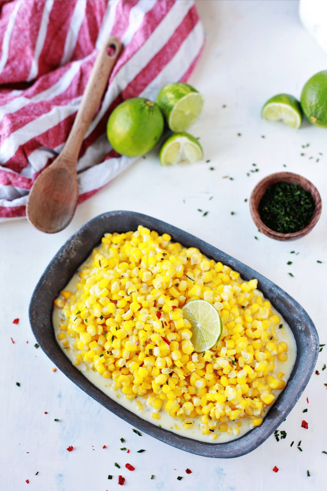 Creamed corn with lime.An easy recipe forcreamy delicious corn with justa hint of heat and citrus.