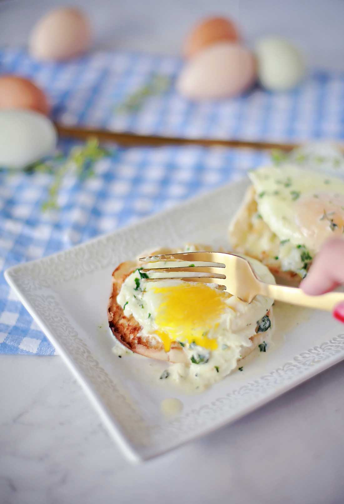 Perfet easy over recipe for Herbs and Cream Eggs on a biscuit... SOOO GOOD!!!
