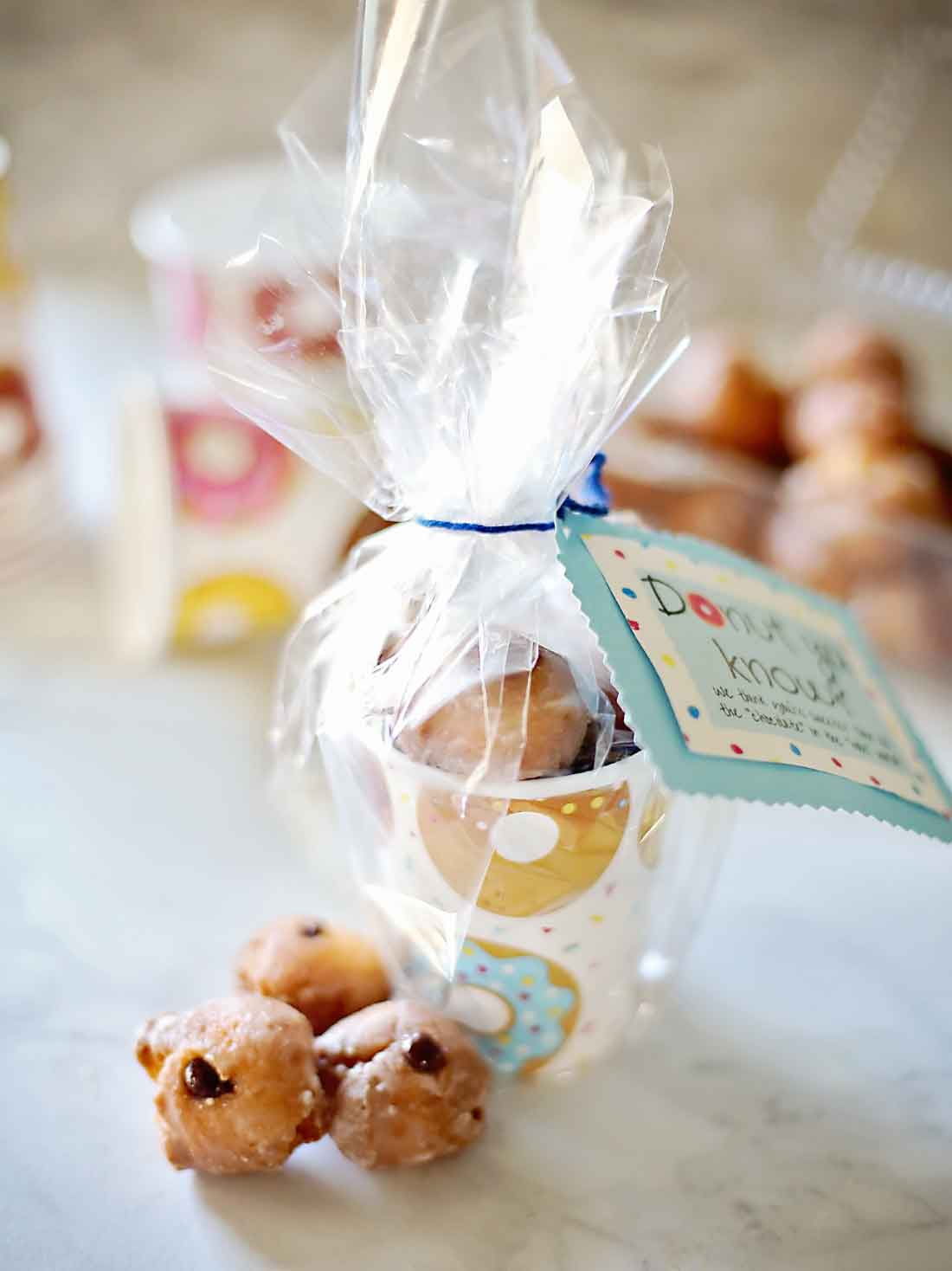Chocolate filled donut holes and the cutest gift tags by Flirting with Flavor!