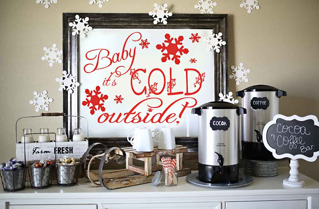 Easy and fun ideas for the cutest cooffee bar and/or hot cocoa bar ever! Coffee and Hot Chocolate Bar by Flirting with Flavor!