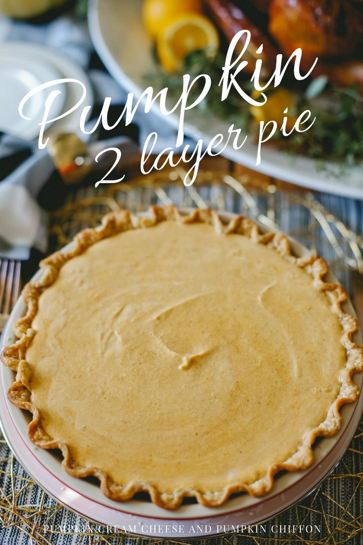 Pumpkin pie! Pumpkin Cream cheese pie layer and pumpkin chiffon pie layer!!!
