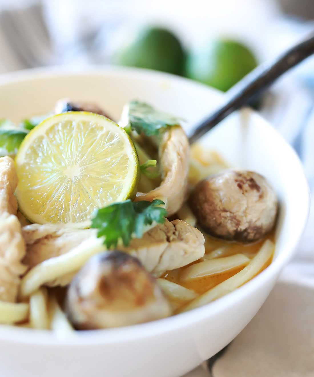 Amazing Thai Coconut soup with lemongrass and lime!