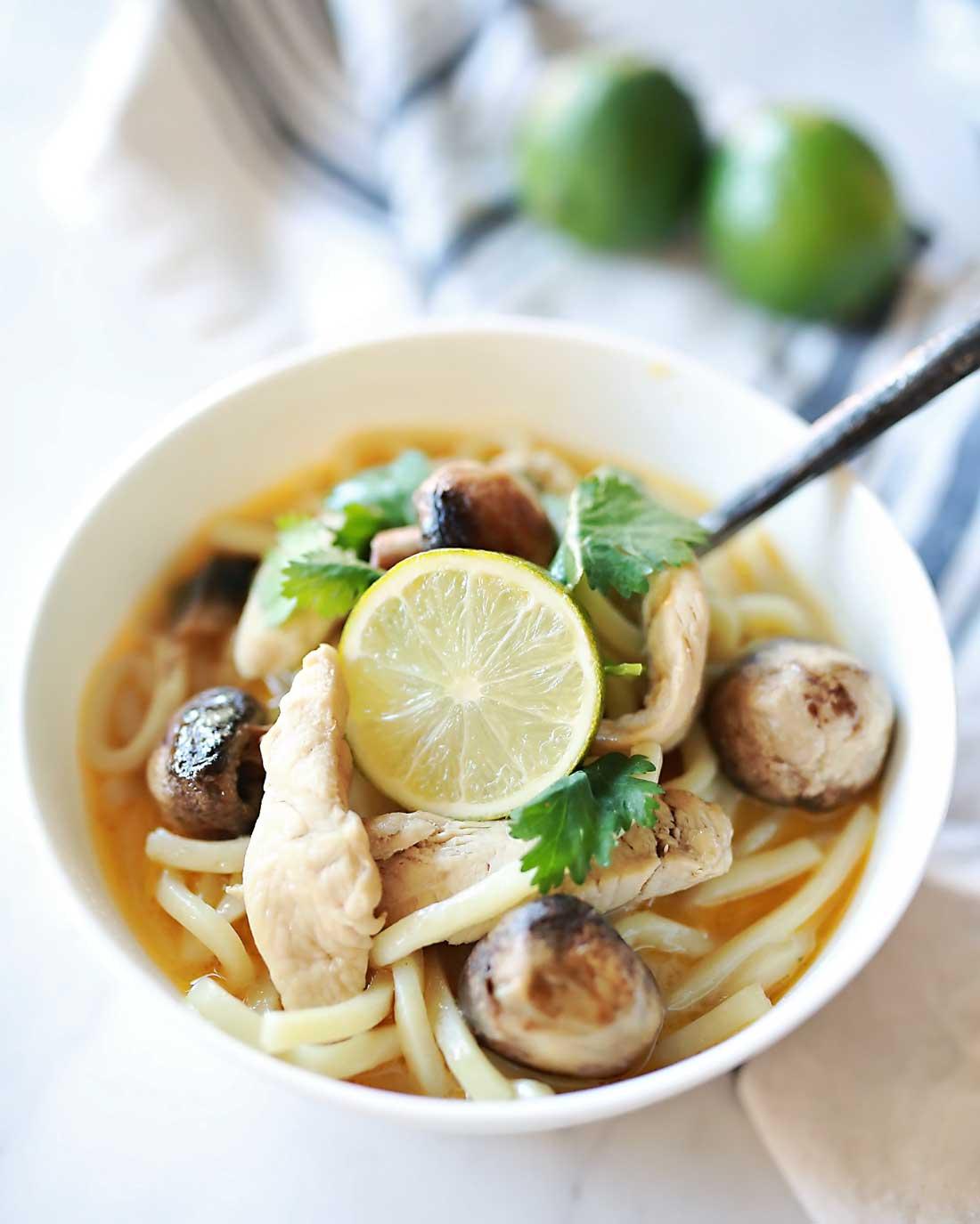 Udon noodles ad cocnut lemongrass soup