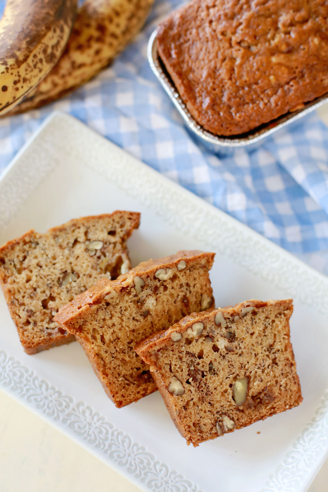 There are three tricks to the best banana bread you will ever make: buttermilk, brown sugar, and a small loaf pan. Easy and delicious banana nut bread!