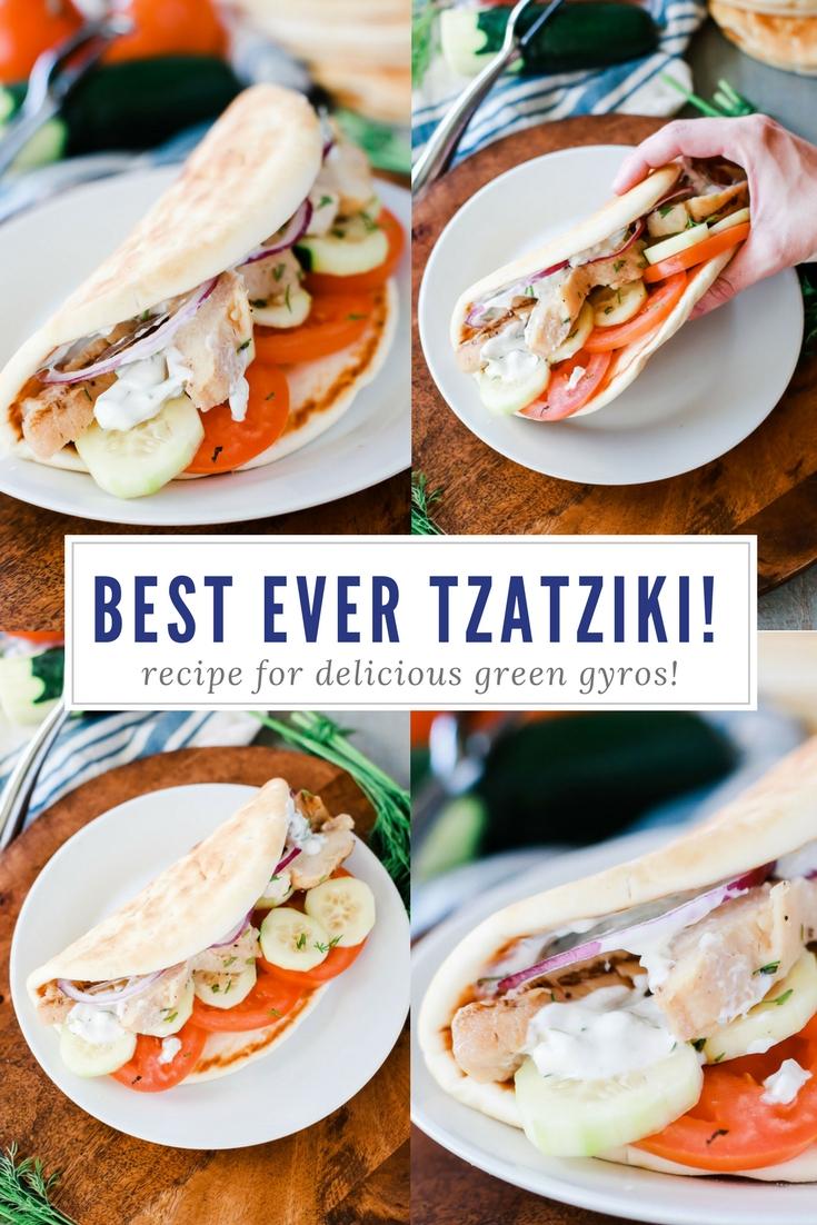 Homemade tzatziki that is sooo good with delicious greek pita gyros