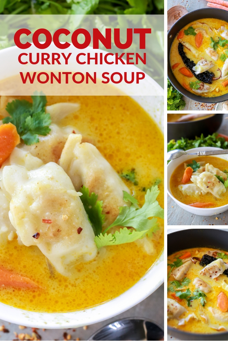 15 minute coconut curry soup with chicken potstickers! SOOOO good and fast and easy recipe for chicken curry soup!
