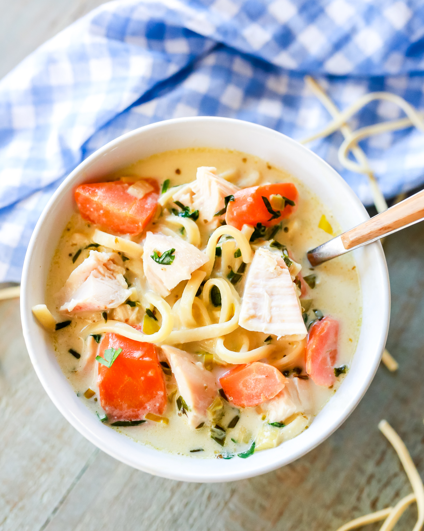 Thick and heart super delicious creamy rotisserie chicken noodle soup recipe