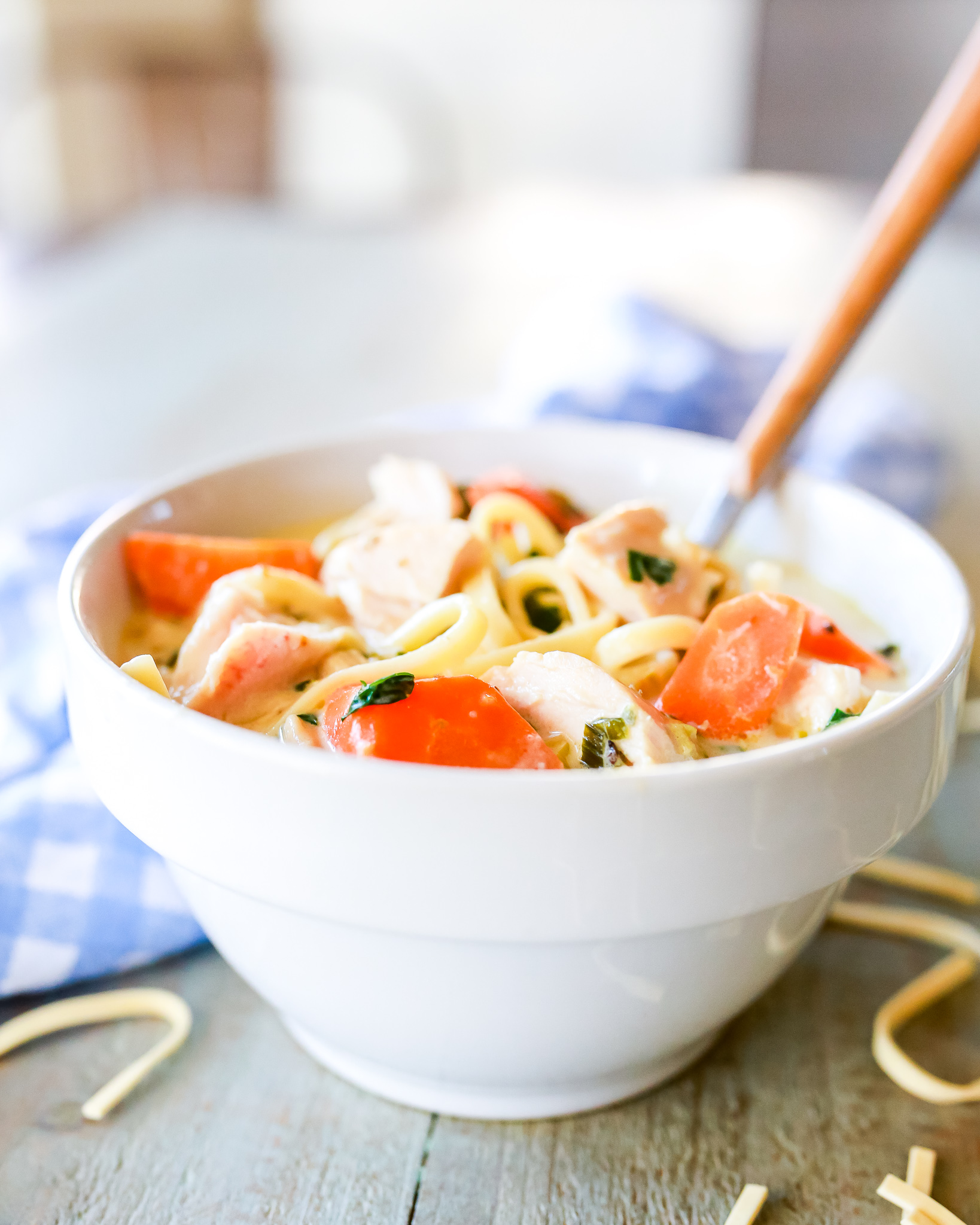 Recipe for the most delicious thick and hearty chicken noodle soup in twenty minutes!
