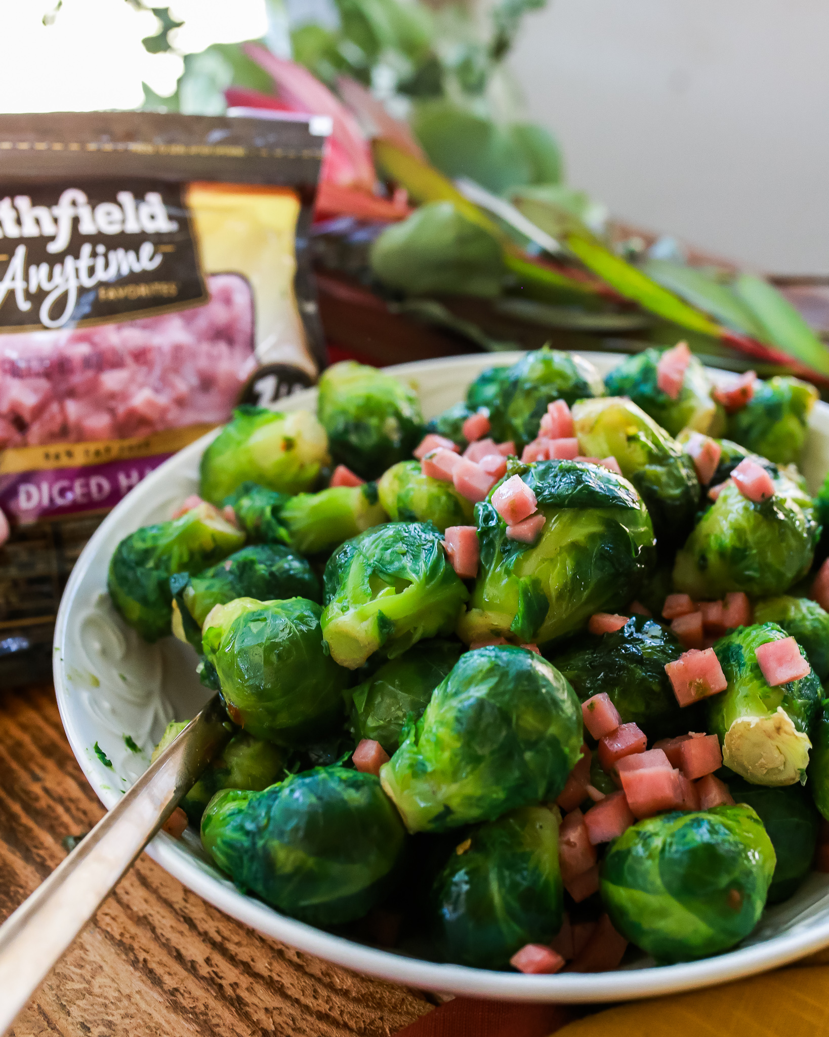 Maple glazed Roasted Brussel sprouts with ham
