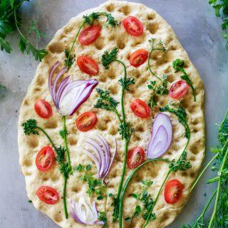 simple, delicious, and beautiful garlic focaccia bread recipe