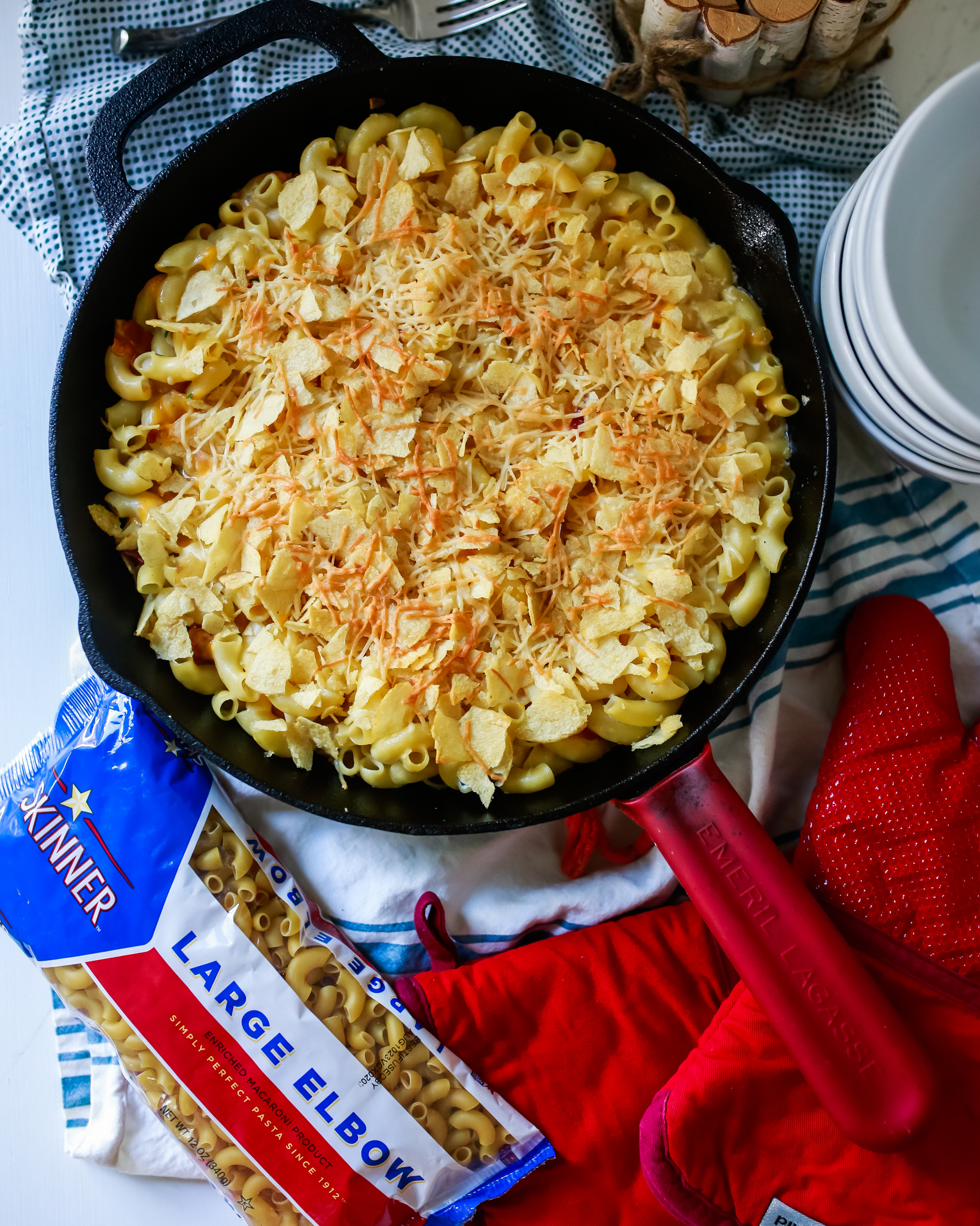 Potato chips topping homemade Mac and cheese!