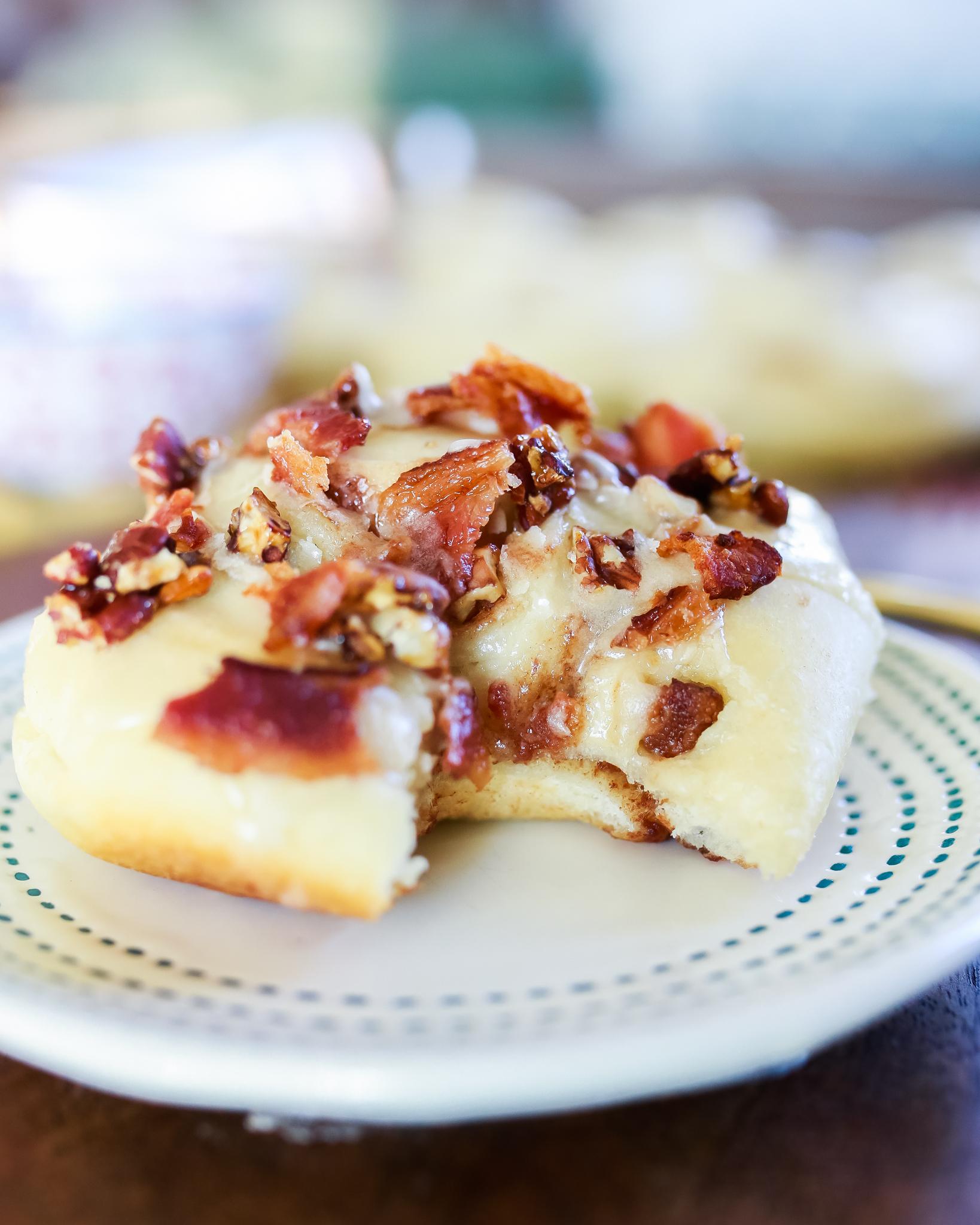 The most divine maple bacon cinnamon rolls recipe!