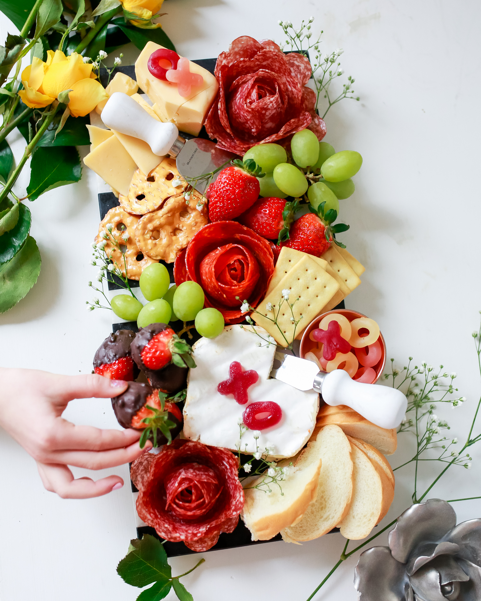 Beautiful love charcuterie board with meat roses tutorial